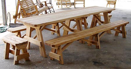 10 Picnic Table With 2 Separate Benches 1099 Additional End Adds 175 00
